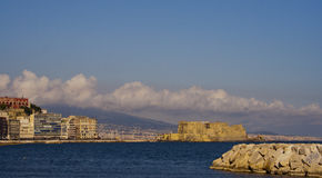 Castel dell'Ovo seen from mergellina Stock Photos