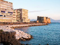 Castel dell Ovo at sunset in the bay of Naples italy Royalty Free Stock Photography