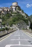 Castel di Tora city, near Rieti, view from the road Stock Images