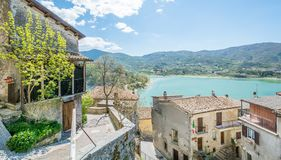 Castel di Tora, comune in the Province of Rieti in the Italian region Latium. Castel di Tora is a comune in the Province of Rieti in the Italian region Latium Royalty Free Stock Photo