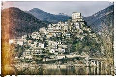 Castel di tora - medieval village in Italy, retro picture Stock Images