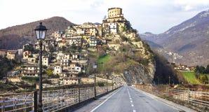 Castel di Tora -Rieti province, Italy. Castel di Tora - beautiful medieval village in lake. Rieti province, Lazio Stock Image