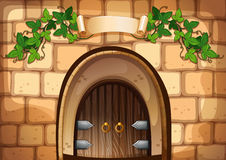 Castel door with vine over it. Illustration Royalty Free Stock Image