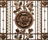 Castel entrance of metallic grid. Metallic castle grid composed with flowers and leafs on a white background Stock Photo