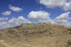 The Castel and Fortress at the Ancient Biblical city of Lachish, today Tel Lachish. Wall of Castel and Fortress of Rehoboam in the Ancient Biblical city of Stock Photos