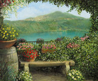 Castel Gandolfo. An oil painting on canvas of a view toward the lake in Castel Gandolfo, Italy with a romantic bench framed by blooming colorful flowers Royalty Free Stock Photography