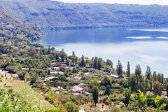 Castel Gandolfo volcanic lake panorama in Rome Royalty Free Stock Photography