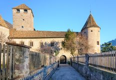 Castel Mareccio - Schloss Maretsch. The beautiful castle entrance of Castel Mareccio Stock Photo
