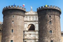 Castel Nouvo.Medieval castle in Naples, Italy Stock Photos