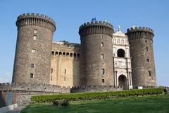 Castel Nuovo - Main gateway with box hedge stock photography