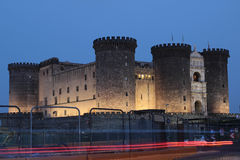 Castel Nuovo at night, Naples Italy Stock Image