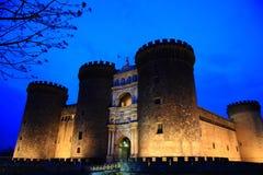 Castel Nuovo på skymning Arkivbild