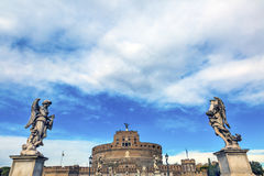 Castel Ponte Sant Angelo Vatican Bernini Angels Rome Italy Stock Photos