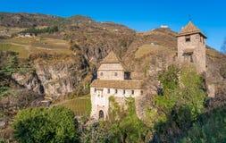 Castel Roncolo dichtbij Bolzano, in het gebied van Trentino Alto Adige, in Italië stock foto's