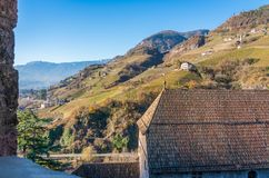 Castel Roncolo near Bolzano, in the region of Trentino Alto Adige, in Italy. Roncolo Castle is a medieval fortification on a rocky spur in the territory of royalty free stock images