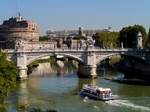 Castel Saint Angelo and Tiber River Royalty Free Stock Images