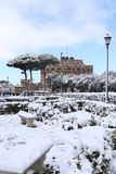 Castel San Angelo when it snowed in Rome stock photo