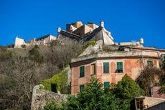 Castel San GIovanni in Finalborgo. The fortress of Castel San GIovanni, in the ancient village of Finalborgo, Italy stock photography