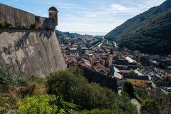 Castel San GIovanni in Finalborgo. The fortress of Castel San GIovanni, in the ancient village of Finalborgo, Italy stock images
