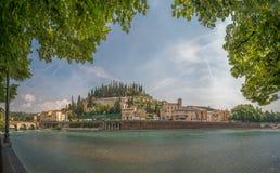 Castel San Pedro en Verona Imagenes de archivo