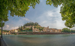 Castel San Pietro in Verona. Panorama in Verona, Italy, in May, 2015, during a family trip. Main view- Castel San Pietro Stock Images