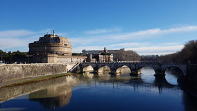 Castel Sant安吉洛,反射,河,水,地标 免版税库存照片