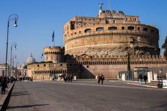 Castel Sant 'Angelo in Rome begraaft voor de keizer Hadrian en zijn familie stock foto