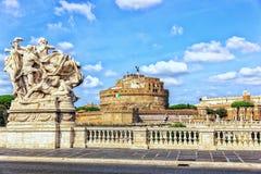 "Castel Sant ""Angelo από τη γέφυρα αποκαλούμενη Ponte Vittorio Emanuel στοκ εικόνα με δικαίωμα ελεύθερης χρήσης"