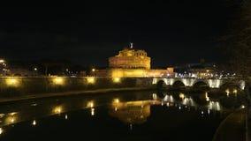 Castel Sant `安吉洛在晚上 库存照片