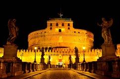 Castel Sant'Angelo на ноче Стоковые Изображения RF