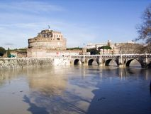 Castel Sant'Angelo. View of Castel S. Angelo and Tevere River from the right side of the river Royalty Free Stock Photo