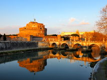 Castel Sant Angelo. Castle and river Tiber in Rome, Italy Stock Photos