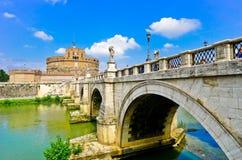 Castel Sant`Angelo and Aelian Bridge in Rome Stock Photos