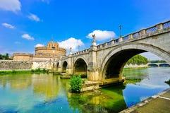 Castel Sant`Angelo and Aelian Bridge in Rome Stock Image