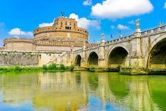Castel Sant`Angelo and Aelian Bridge in Rome Royalty Free Stock Photo