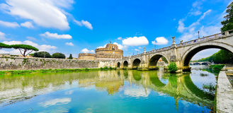 Castel Sant`Angelo and Aelian Bridge in Rome Royalty Free Stock Images