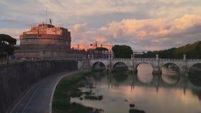 Castel Sant ' Angelo al tramonto stock footage