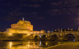 Castel Sant'Angelo with bridge at night Royalty Free Stock Photos