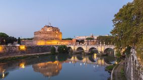 Castel Sant`Angelo and bridge over Tiber river in Rome, Italy stock video footage