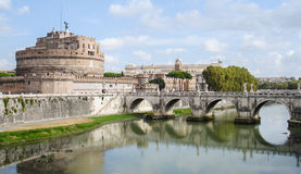 Castel Sant Angelo and the bridge ponte Sant Angelo. Rom. Castel Sant Angelo and the bridge Ponte Sant Angelo. River Fiume Tiber in Rom near Vatican City Royalty Free Stock Images