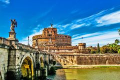 Castel Sant' Angelo with Bridge of the sacred monuments, Rome, South Italy Stock Photos