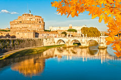 Castel Sant'angelo and bridge at sunset, Rome, Italy. Stock Photos