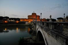 Castel Sant Angelo. Caste Sant'Angelo in Rome at nightfall Royalty Free Stock Image