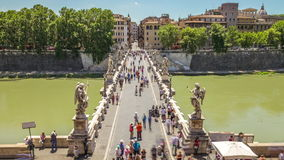 Castel Sant Angelo. Castel Sant`Angelo castle in Rome city, Italy, with tourists moving. Located beside Tiber river. View from Umberto I bridge. 4K Time lapse stock video