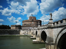 Castel Sant`Angelo with Clouds. Castle Sant Angelo Holy Angels with river Tiber & Ponte Sant`Angelo royalty free stock images