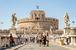 Castel Sant'Angelo fortress and bridge view in Rome, Italy. Royalty Free Stock Photo