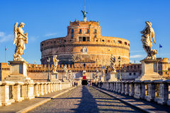 Castel Sant`Angelo, Mausoleum of Hadrian, Rome, Italy. The Mausoleum of Hadrian, also known as Castel Sant`Angelo, was papal fortress and prison in the Middle Stock Image