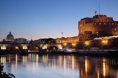 Castel Sant'Angelo at night Stock Photography