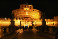 Castel sant'angelo by night Stock Photos