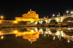 Castel Sant'Angelo by night Royalty Free Stock Images